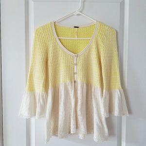 Free People sz XS yellow and cream knit cardigan